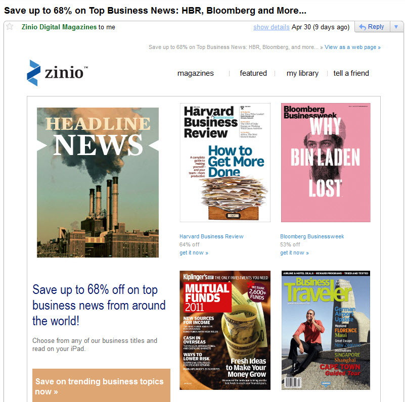 Ecommerce campaign gone wrong: Zinio email campaign needs UX, err, common sense
